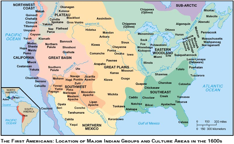1 2 the first americans location of major indian groups and culture areas in the 1500s
