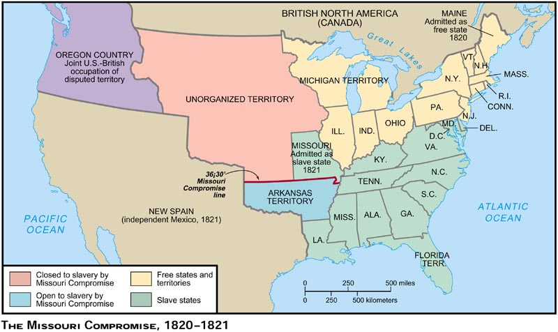 Blank Maps For Quizzes - Map of us in 1821