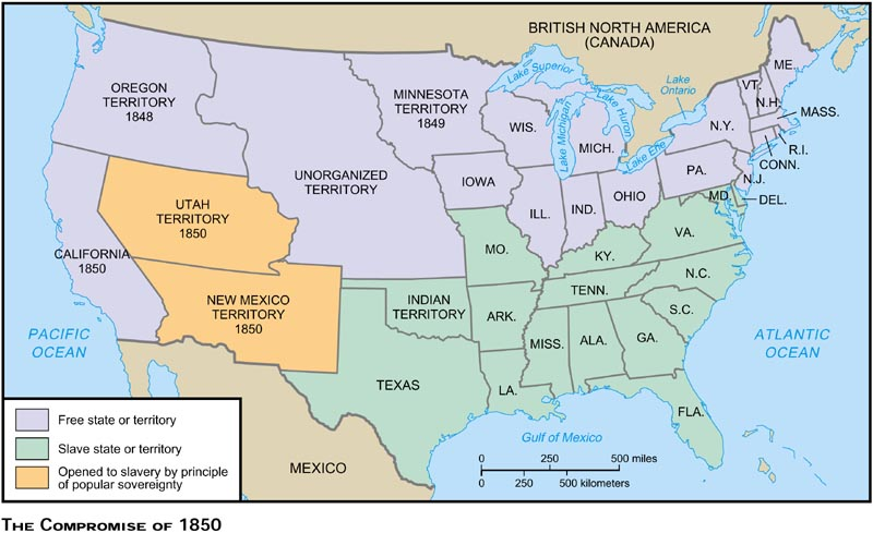 Blank Maps For Quizzes - 1850 map of us