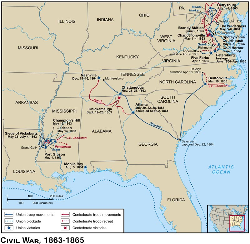 Blank Maps For Quizzes - Us map of civil war battles