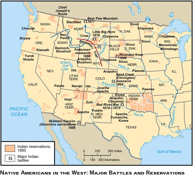 map of the united states 17 2 native americans in the west major battles and reservations