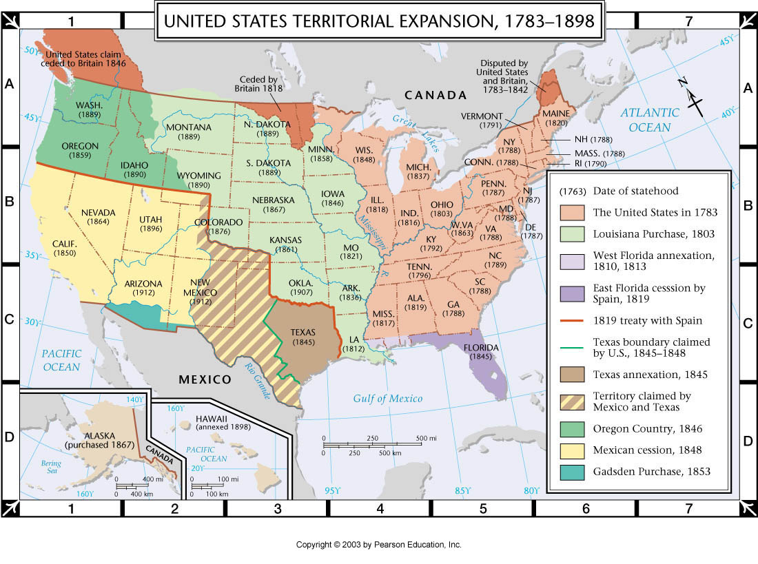 The United States of America Territorial Expansion 17831898