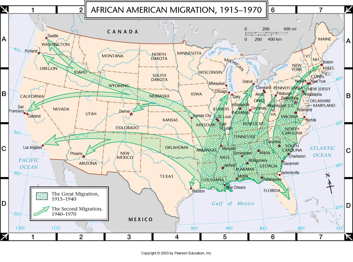 Atlas Map African American Migration - Map from us to african