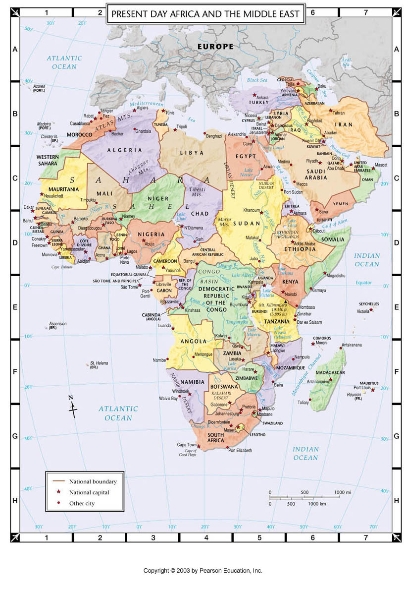 Atlas Map Present Day Africa And The Middle East