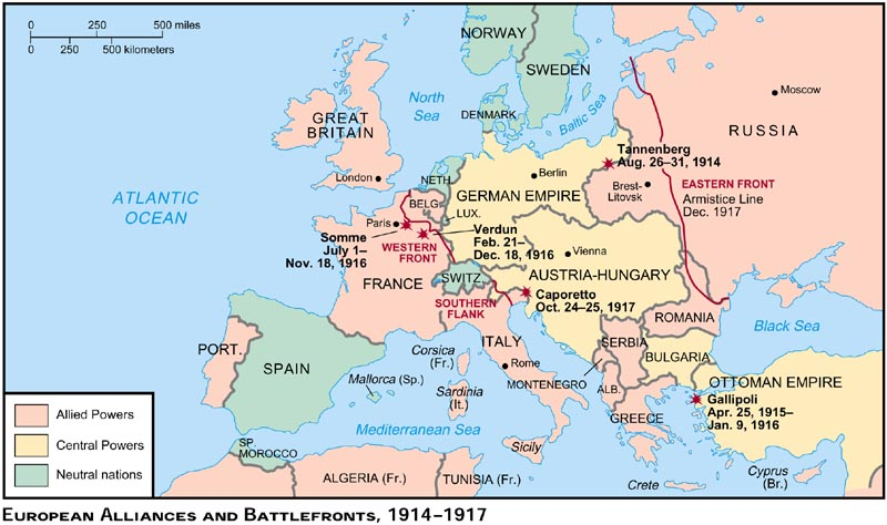 Ww1 Map Of Europe