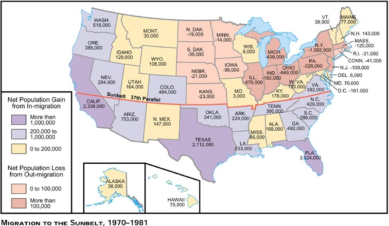 Changes In The American Economy The Energy Crisis - Us sunbelt map